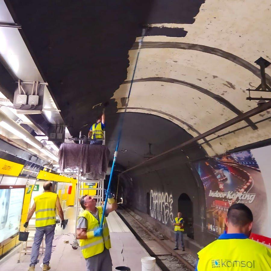 komsol tunnel beton boden decke innerseal versiegelung dauerhaft hochwertige silikate bahn schienen sanierung ubahn