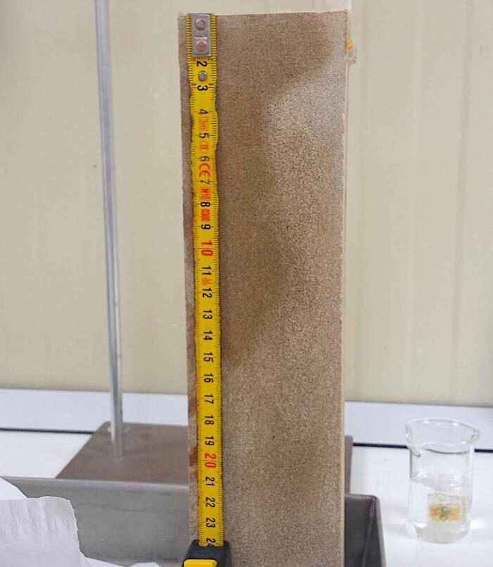komsol Innerseal Testbeton Sandstein DIN Testverfahren Beton Test Institut Eindringtiefe Wasser Schutz zersetzen