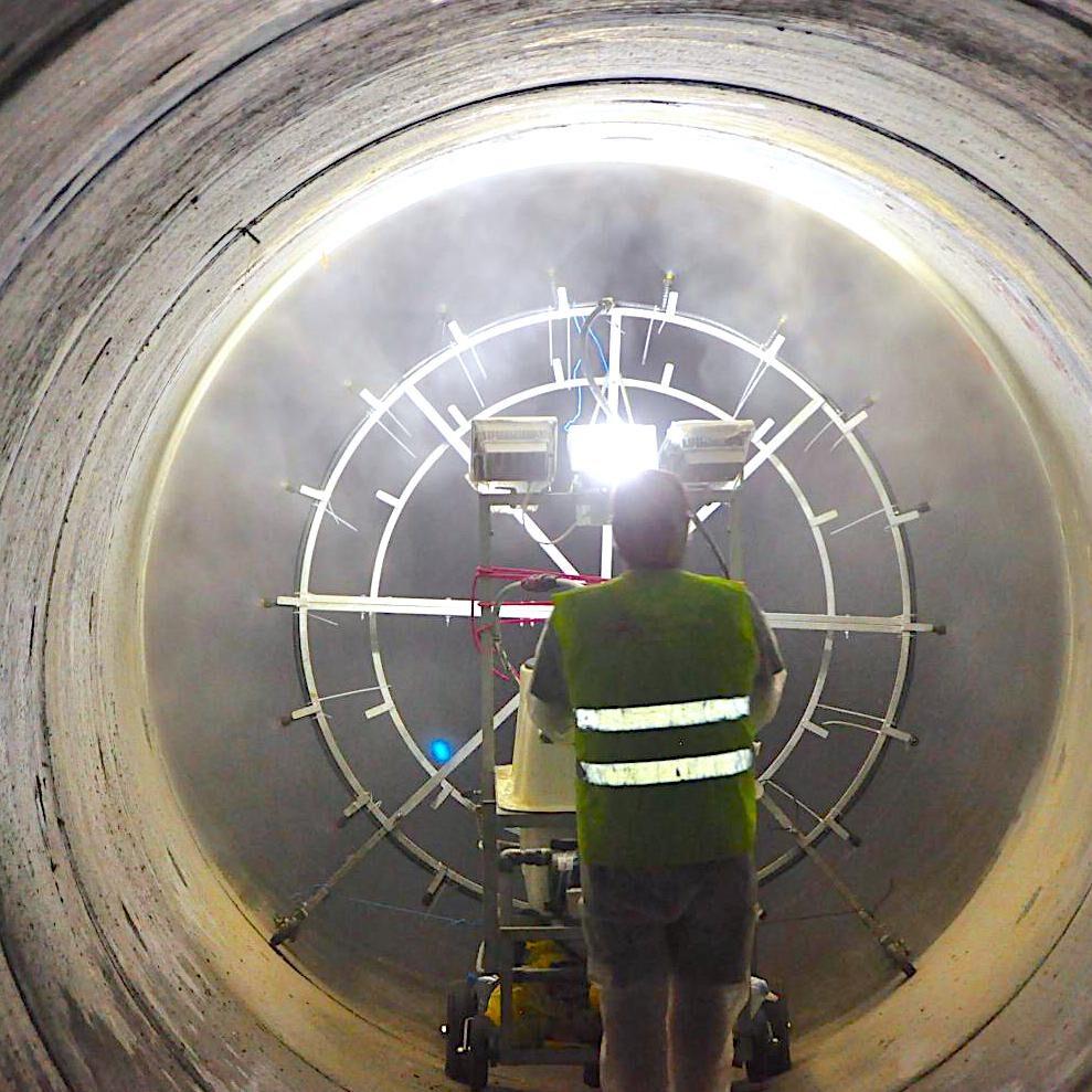 komsol innerseal Abwasser Kanal klaeranlage versiegelt Absetzbecken Abwasserkanal Sprühvorrichtung Vorgang