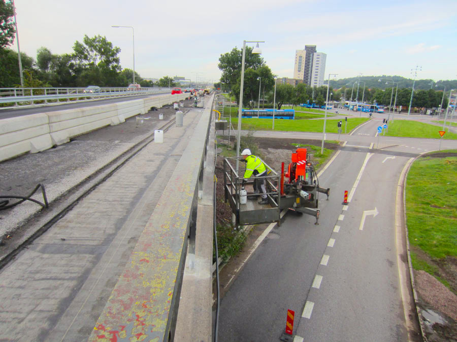 komsol innerseal sanierung versiegelung beton seitenteile sockel pfeiler Gothenburg Hjalmarbranting