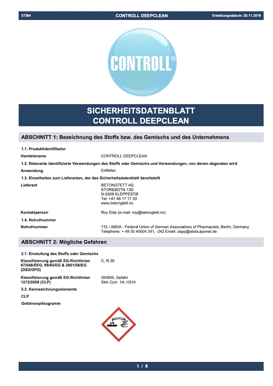 komsol CONTROLL DEEPCLEAN Sicherheits Datenblatt