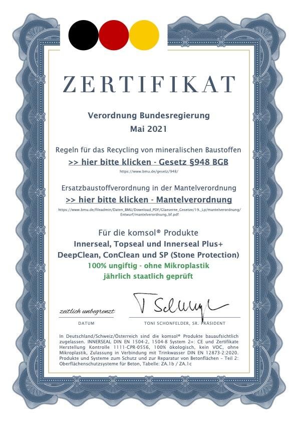 Zertifikat komsol innerseal ungiftig ohne mikroplastik Verordnung Bundesregierung