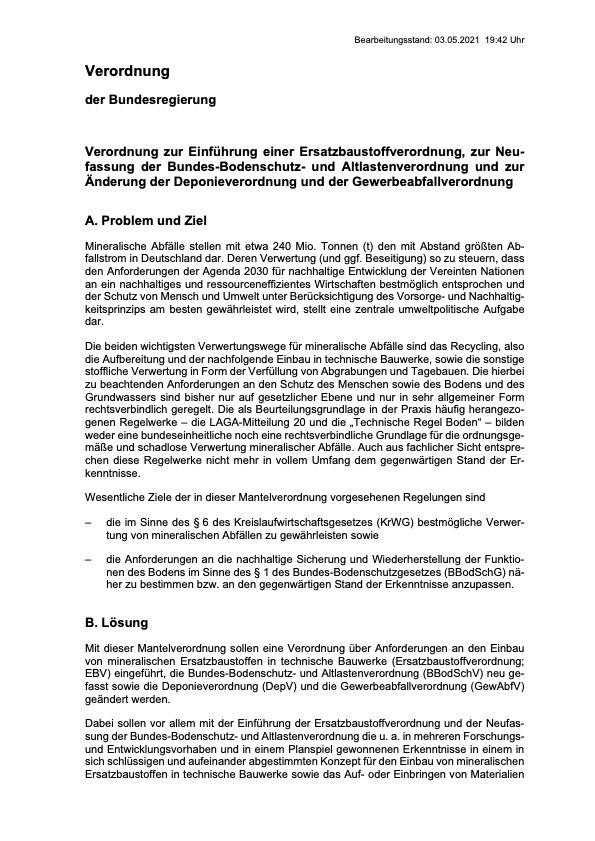 mantelverordnung bundesregierung verordnung erstatzbaustoffverordnung