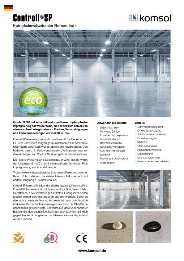 TDS Controll SP Stein Versiegelung Stone Protection komsol technisches Datenblatt Deutschland Oesterreich Schweiz