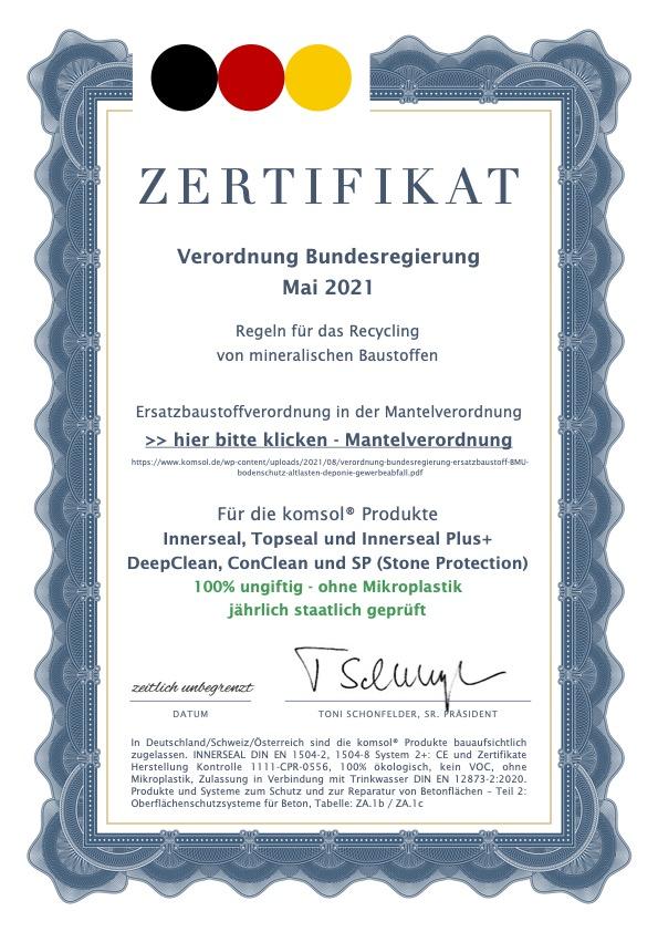 Zertifikat komsol innerseal ungiftig ohne mikroplastik Verordnung Bundesregierung recycling
